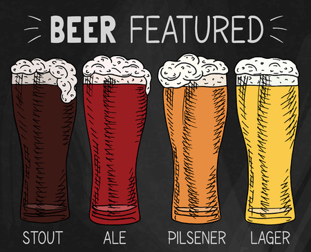 Beer featured. Beautiful illustration of stout, ale, light and lager beeron the chalkboard background
