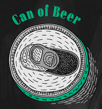 Can of Beer on the chalkboard background