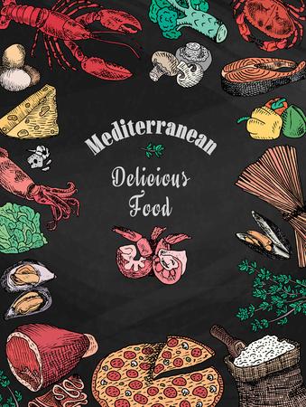 Gesso disegno delizioso cibo mediterraneo, broccoli, calamari, formaggio, granchio, uova, pesce, farina, aglio, lattuga, aragosta, funghi, cozze, pepe, pizza, gamberi, guscio, gamberi, spaghetti, calamari