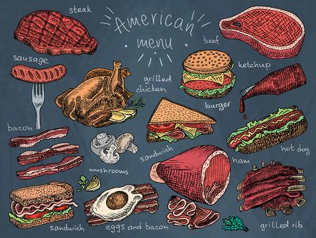 アメリカン メニューのスナック、ハム、チーズ、ステーキ、ハンバーガー、きのこ、パン、肋骨、ハンバーガー、ファーストフード、サンドイッチ  イラスト・ベクター素材