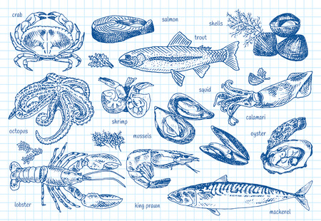 Seafood menu, octopus, mussels, lobster, trout, shells, mackerel, crab, oyster, king prawns, shrimps, squid, salmon, calamari