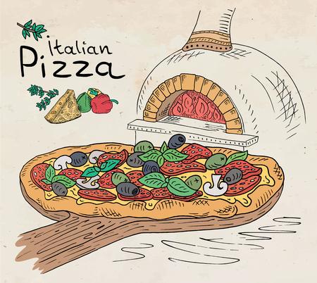 Hermosa ilustración de pizza italiana en la tabla de cortar en el horno