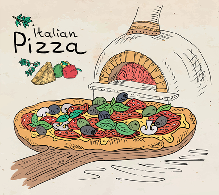 Beautiful illustration of Italian Pizza on the Cutting Board in the oven Illustration