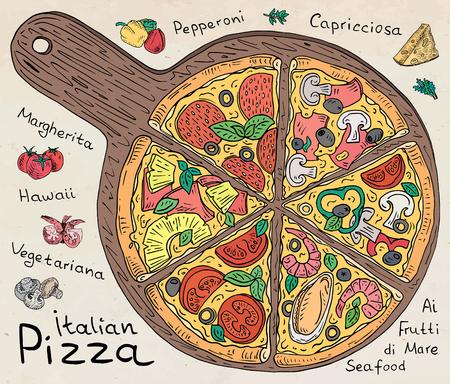 Beautiful illustration of colored Italian Pizza.