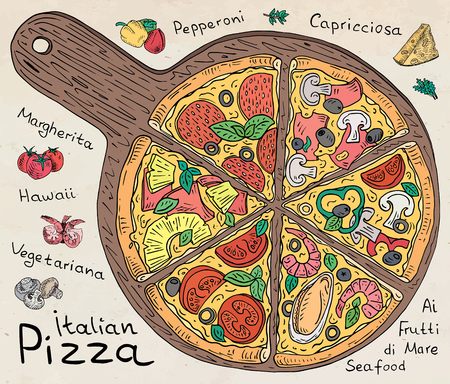 Beautiful illustration of colored Italian Pizza. 版權商用圖片 - 87564795