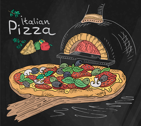 Beautiful illustration of Italian Pizza on the Cutting Board in the oven on the Chalkboard background