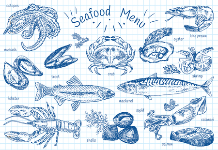 Seafood menu icon set on white background, vector illustration.