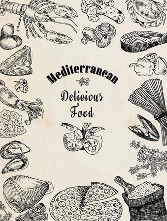 맛있는 지중해 음식, 브로콜리, 오징어, 치즈, 게, 계란, 생선, 밀가루, 마늘, 상추, 랍스터, 버섯, 홍합, 후추, 피자, 새우, 쉘, 새우, 스파게티, 오징어