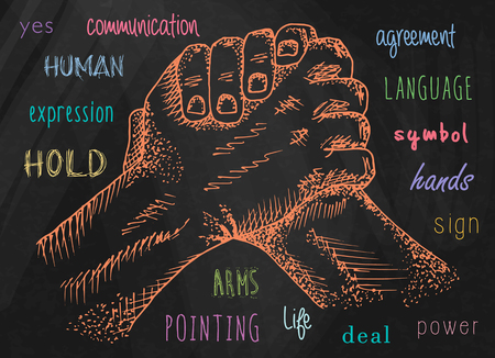 Hands illustrations. Signs hands. Business shaking. Fist agreement. Hands held together. Friendship. Illustration