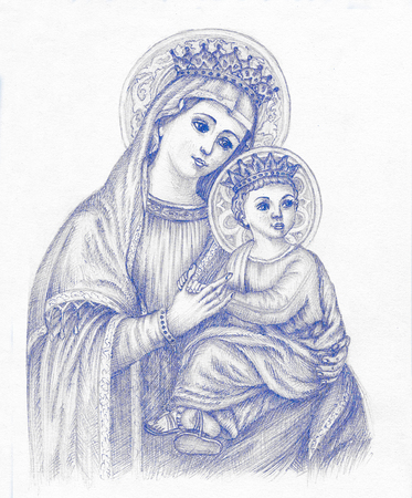 Beautiful pencil drawing illustration for easter. The Holy Virgin Mary