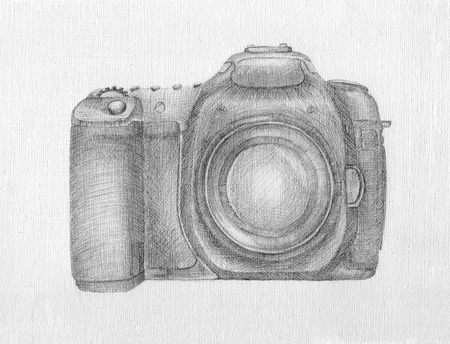 photo camera handdrawn by pen Stock Photo