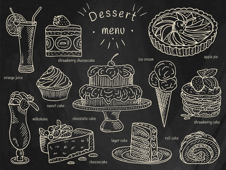 Dessert Menu icons  - ice cream, chocolate, layer, strawberry, roll, sweet cake, apple pie, orange juice, cheesecake and milkshake Ilustrace