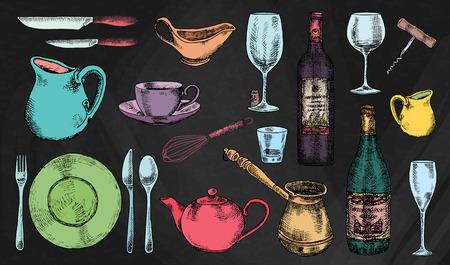 Kitchenware set. Beautiful tableware and kitchen utensils illustration on the chalkboard background Ilustrace