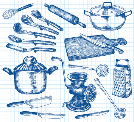 Kitchenware set. Beautiful tableware and kitchen utensils illustration Ilustrace