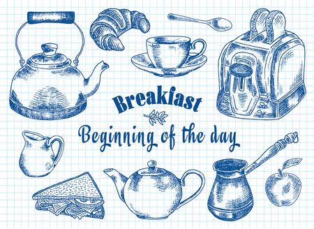 Breakfast illustration. Toaster, bread, toast, apple, fruit, coffee pot, kettle, sandwich, snacks, milk pot, mug, cup, croissant, kettle, spoon, dessert.