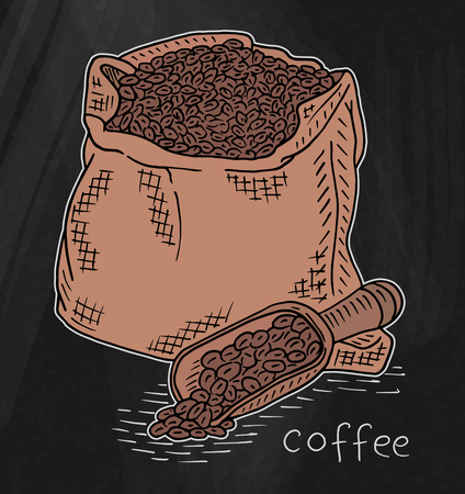 Beautiful illustration of coffee beans in the cotton bag
