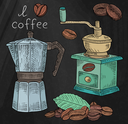 Beautiful illustration of coffee grinder and coffee pot with beans on chalkboard background