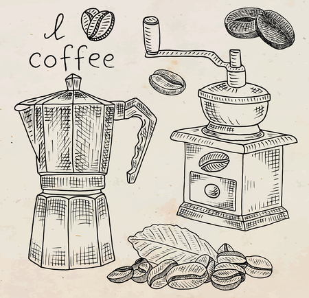 Beautiful illustration of coffee grinder and coffee pot with beans Ilustrace