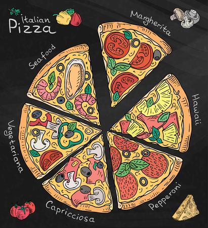 Beautiful illustration of Italian Pizza. Six slices of Margarita, Hawaii, Pepperoni, Vegetarian and Seafood pizza. Chalk and Chalkboard