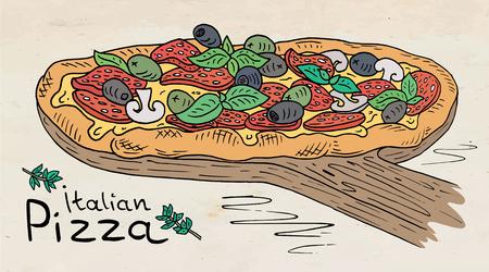 Beautiful illustration of Italian Pizza on the Cutting Board.