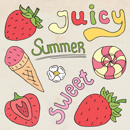 Juicy sweet summer illustration of strawberries,  ice cream con and sweets Ilustrace