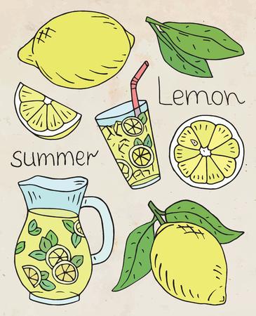 summer illustration of fresh lemonade with juicy lemons Ilustrace