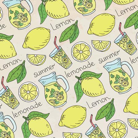 summer fresh lemonade pattern with juicy lemons