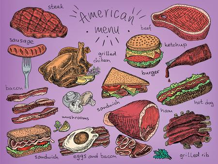 American menu, snack, ham, cheese, steak, hamburger, mushroom, bread, ribs, burger, fastfood, sandwich, grill, chicken, eggs, sausage, bacon, ketchup, fries