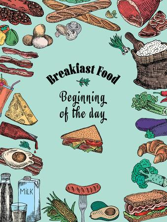 Breakfast. Avocado, bacon, bread, cheese, corn, eggs, ketchup, loaf, pepper, salad, sandwich, sausage, broccoli, flour, eggplant, vegetable, juice, milk, ham