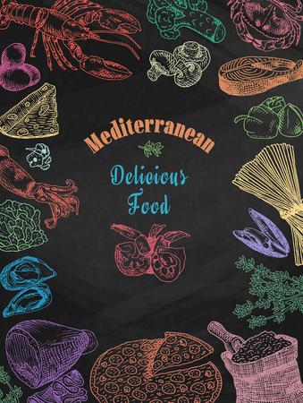 Chalk drawing delicious mediterranean food, broccoli, calamari, cheese, crab, eggs, fish, flour, garlic, lettuce, lobster, mushroom, mussels, pepper, pizza, prawn, shell, shrimp, spaghetti, squid