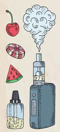 Vaporizer shop. Beautiful poster of Vaporizer and juices