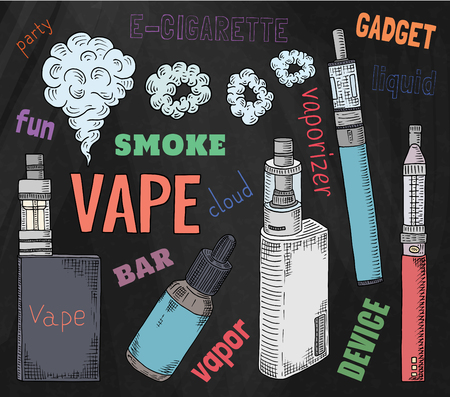 Vaporizer shop. Beautiful poster of Vaporizer and juices on the chalkboard background.