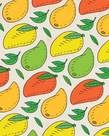 Pattern of sweet juicy mango. Summer exotic food. Beautiful hand drawn illustration of fruits.