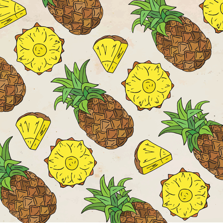 Pattern of sweet juicy pineapple. Summer exotic food. Beautiful hand drawn illustration of fruits.