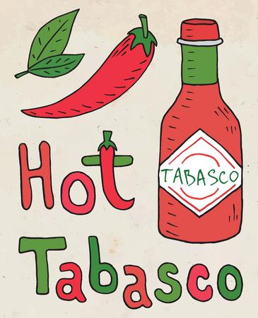 Hot Chili sauce. Summer beautiful illustration of chili pepper.
