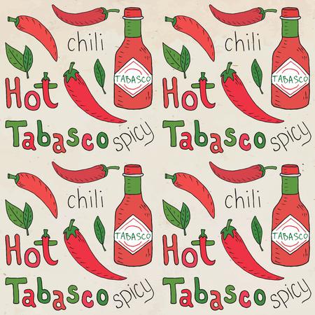 Chili seamless pattern. Summer beautiful illustration of chili pepper.