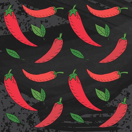 Chili seamless pattern. Summer beautiful illustration of chili pepper on chalkboard background
