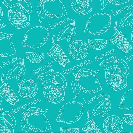 summer illustration of fresh lemonade with juicy lemons  イラスト・ベクター素材