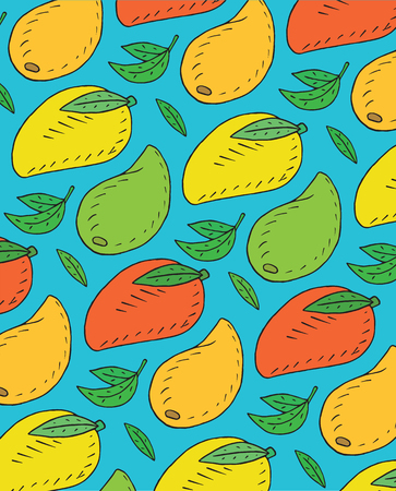 Seamless pattern of sweet juicy avocado. Summer exotic food. Beautiful hand drawn illustration of fruits and   vegetables