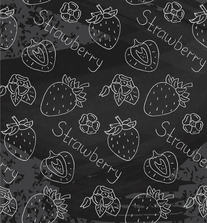 Juicy sweet summer seamless pattern with ripe strawberries on chalkboard background Reklamní fotografie - 103050247