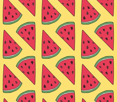 Pattern of sweet juicy watermelon seamless pattern. Summer exotic food. Beautiful hand drawn illustration of fruits Reklamní fotografie - 103039612