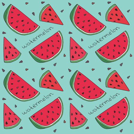 Pattern of sweet juicy watermelon seamless pattern. Summer exotic food. Beautiful hand drawn illustration of fruits