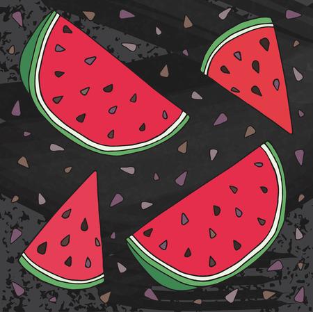 Sweet juicy Watermelon. Summer exotic food. Beautiful hand drawn illustration of fruits on chalkboard background