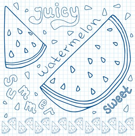Sweet juicy Watermelon. Summer exotic food. Beautiful hand drawn illustration of fruits