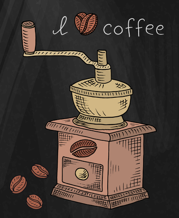 Beautiful illustration of coffee grinder with beans on chalkboard background
