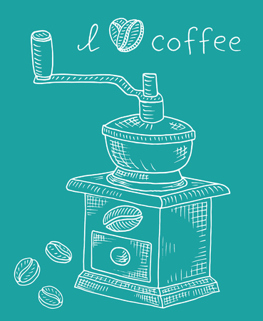 Beautiful illustration of coffee grinder with beans  イラスト・ベクター素材