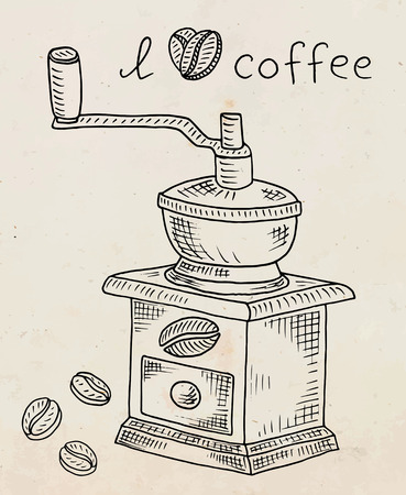 Beautiful illustration of coffee grinder with beans Reklamní fotografie - 103907305