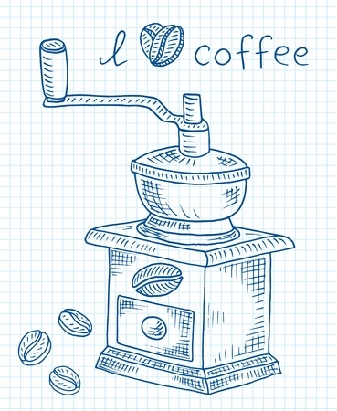 Beautiful illustration of coffee grinder with beans Reklamní fotografie - 103907304
