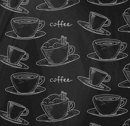 Beautiful illustration of the coffee pattern on chalkboard background Reklamní fotografie - 103907415