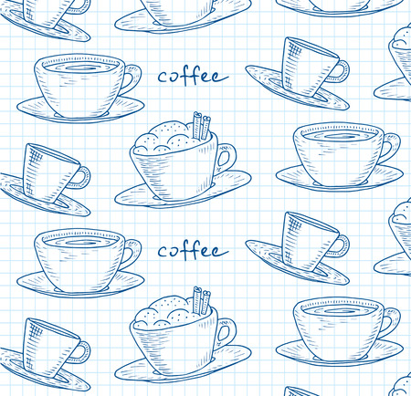 Beautiful illustration of the coffee pattern Reklamní fotografie - 103905190